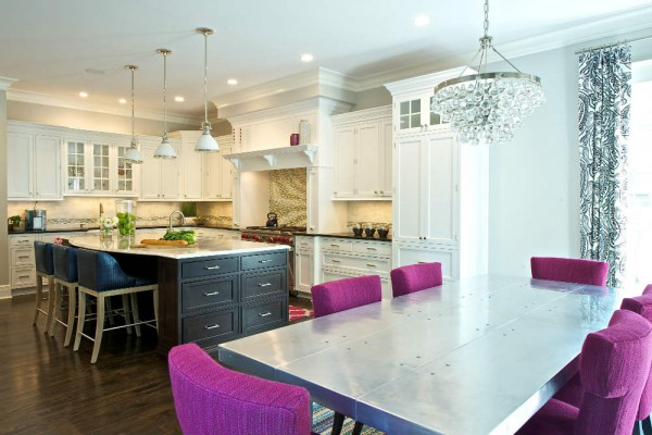 Metal, glass and magenta combine for a glamorous, modern kitchen. </br>(McLean, Virginia)