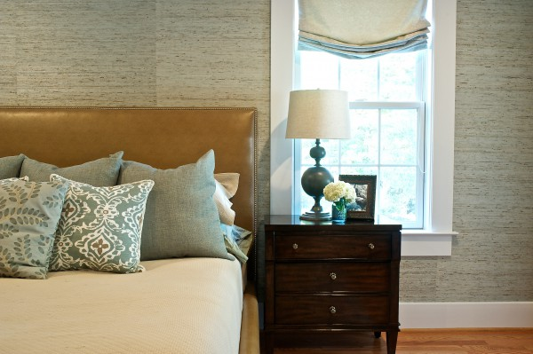 Beautiful master bedroom mixing materials and subtle color palette. </br> (Arlington, VA)