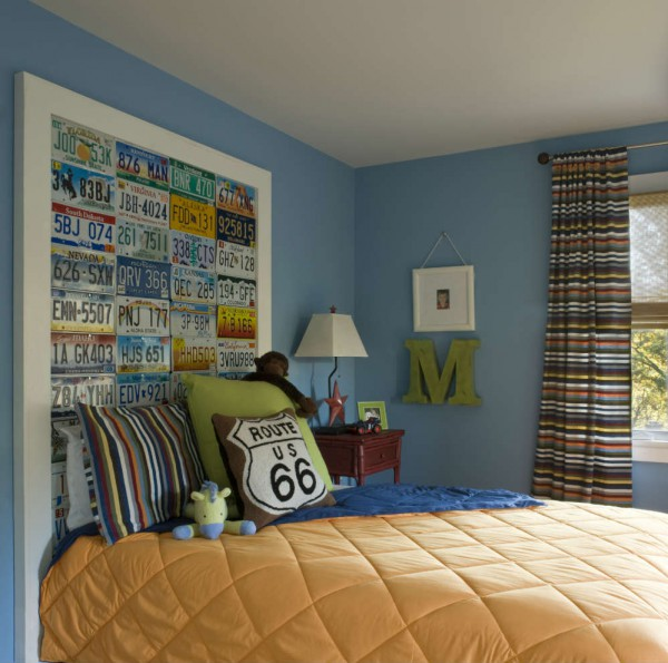 Any little boy with a passion for cars would love this customized headboard made out of license plates. The classic, adaptable (and durable!) style of this little boy's room has the horsepower to take him all the way to his learner's permit and beyond. </br>(Arlington, Virginia)