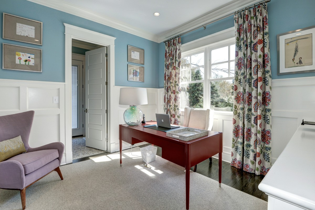 Twists of color, wood and glass give this workspace a fun yet sophisticated look. </br> (McLean, VA)