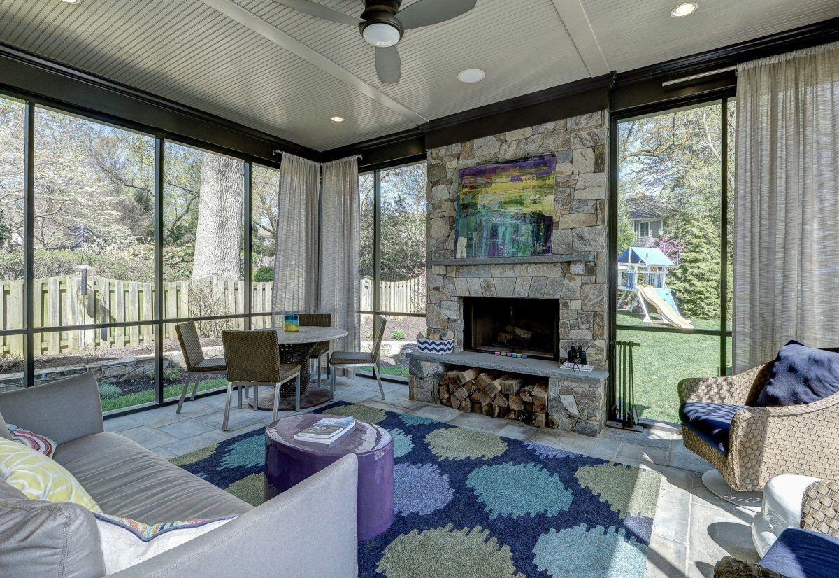 Bright colors add sunshine to this screened in porch.  </br> (McLean, VA)
