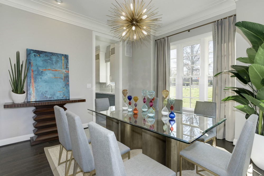 Colorful glass sculpture adds some fun to this sleek design.  </br>(Bethesda, Maryland)