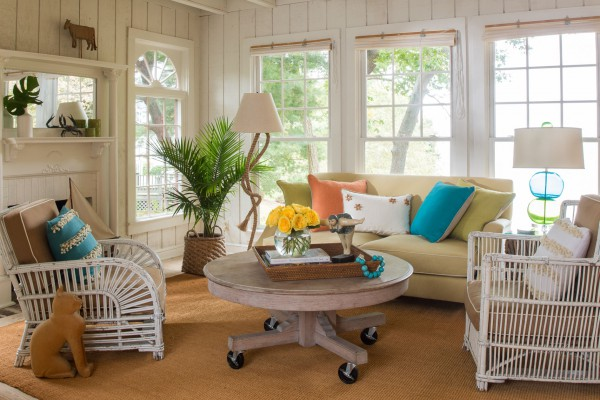 Bright colors and mixing textures add interest and charm to this relaxing retreat. </br>(Montross, Virginia)